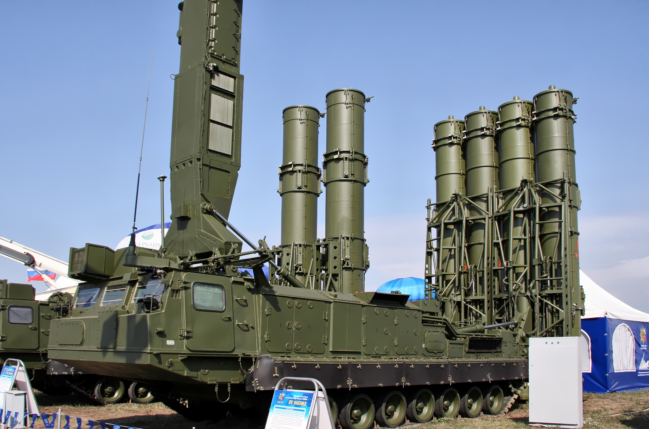 This Russian S-300VM system is designed to intercept missiles, including ballistic missiles. Clearly visible are the elevated missile tubs in the rear of the vehicle.