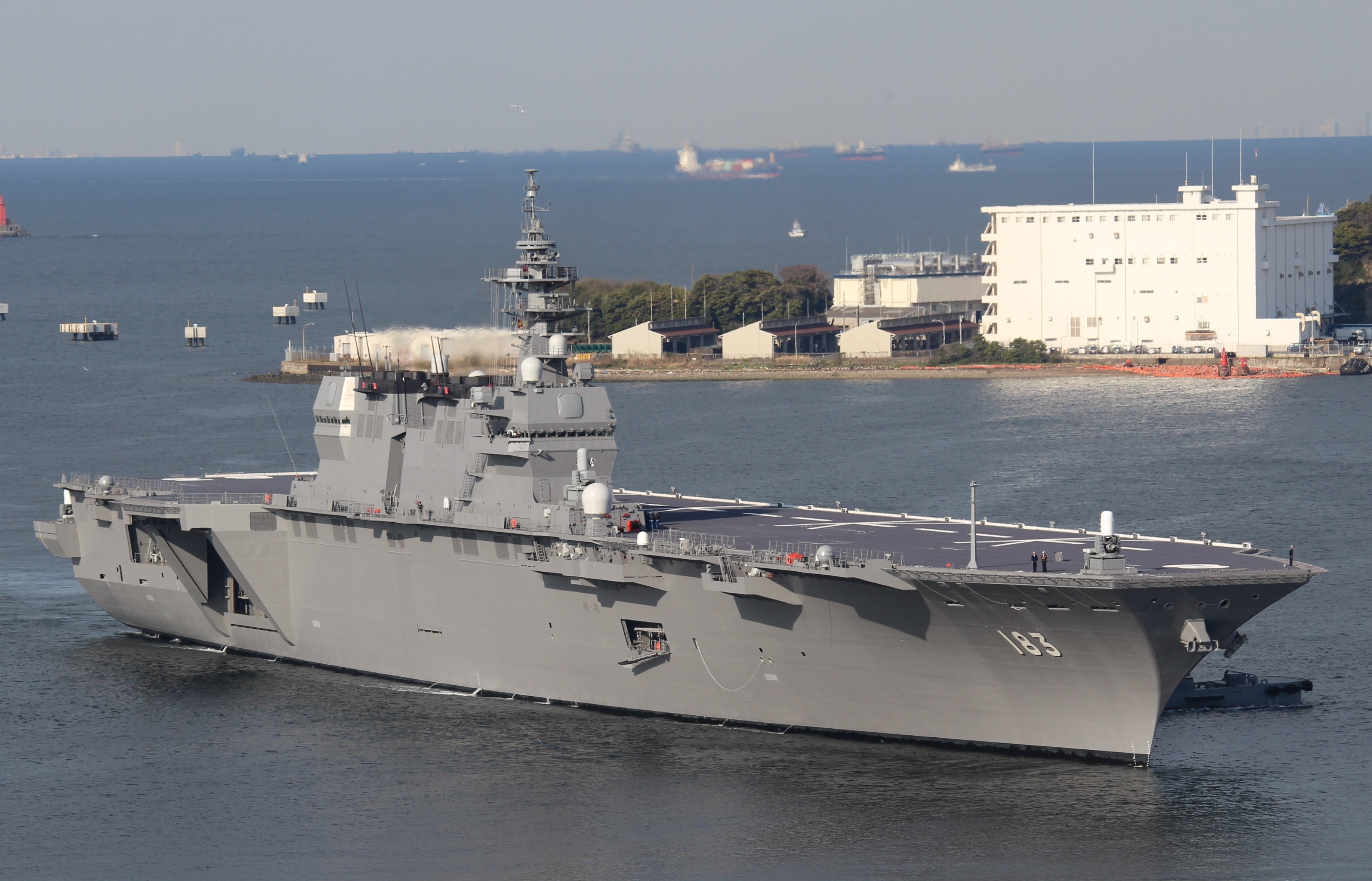 The Japanese Izumo-class helicopter destroyer, which is essentially a helicopter-only amphibious warfare ship (albeit with a great deal of anti-submarine capabilities as well).