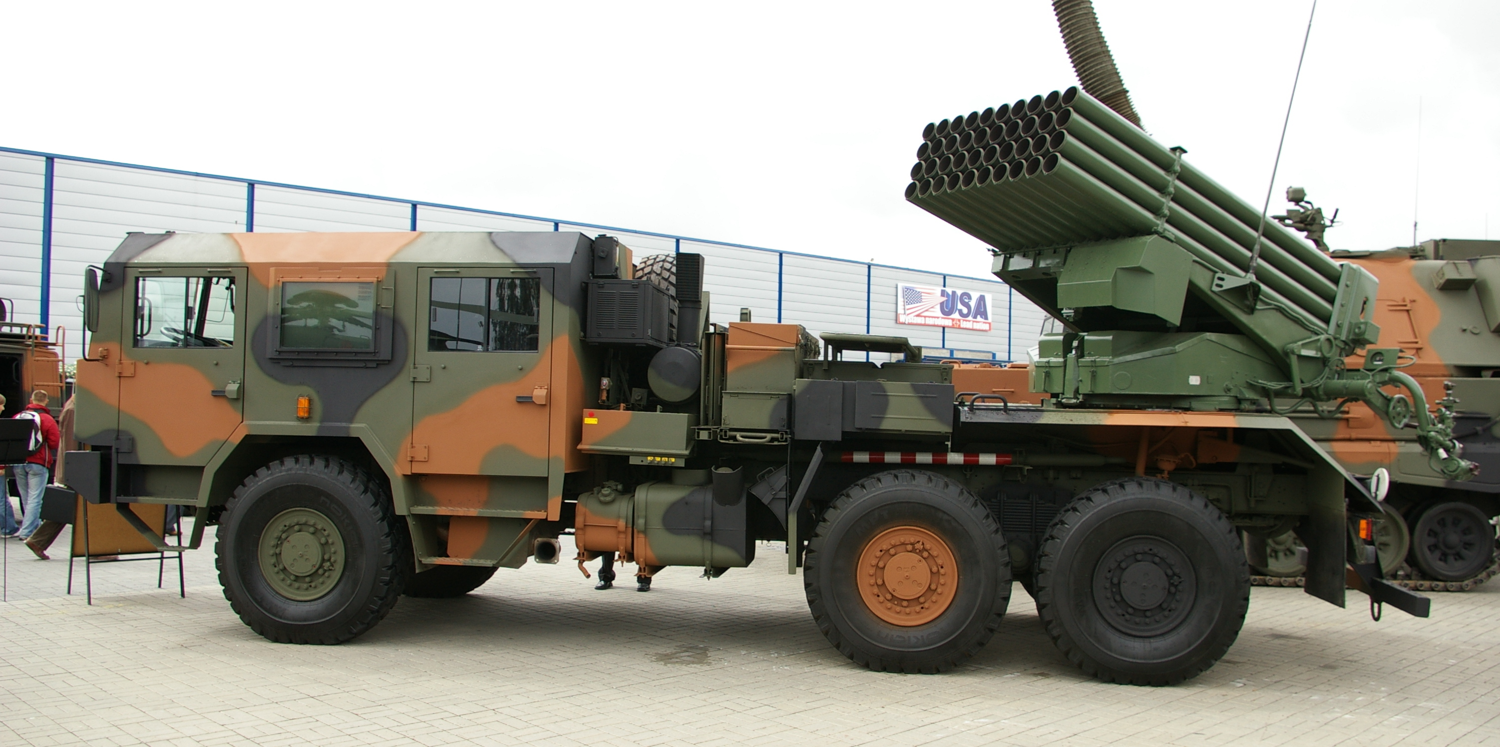 This Polish Langusta rocket artillery TEL is a modernized version of the Soviet Grad rocket artillery system. Note the multitude of rocket launch tubes.