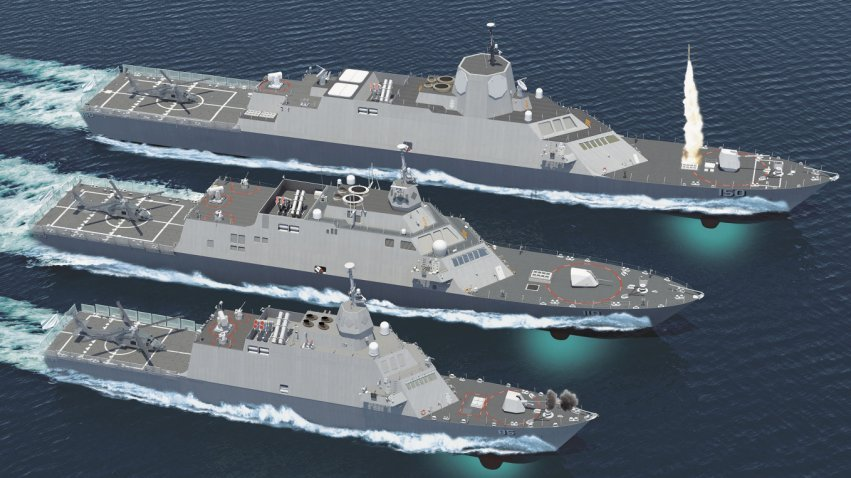 A Lockheed image showing various possible layouts for the Saudi LCS. It is not currently known which one was chosen. Note the VLS cells present in the bow of each design.