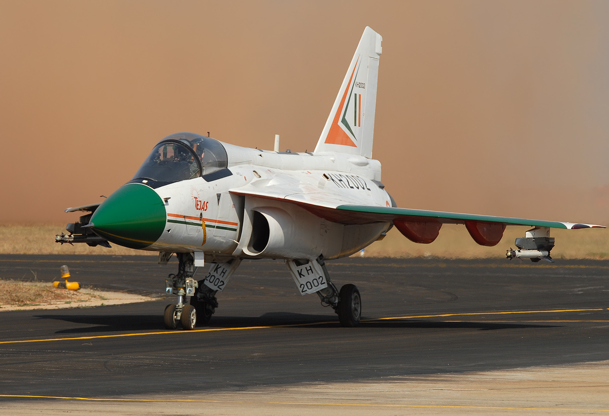 A HAL Tejas on a runway during testing.
