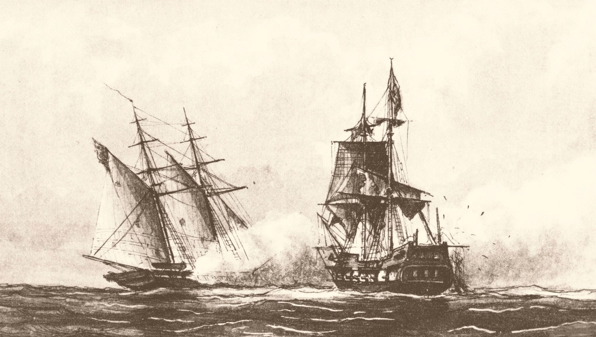 The schooner USS Enterprise captures the corsair Tripoli during battle.