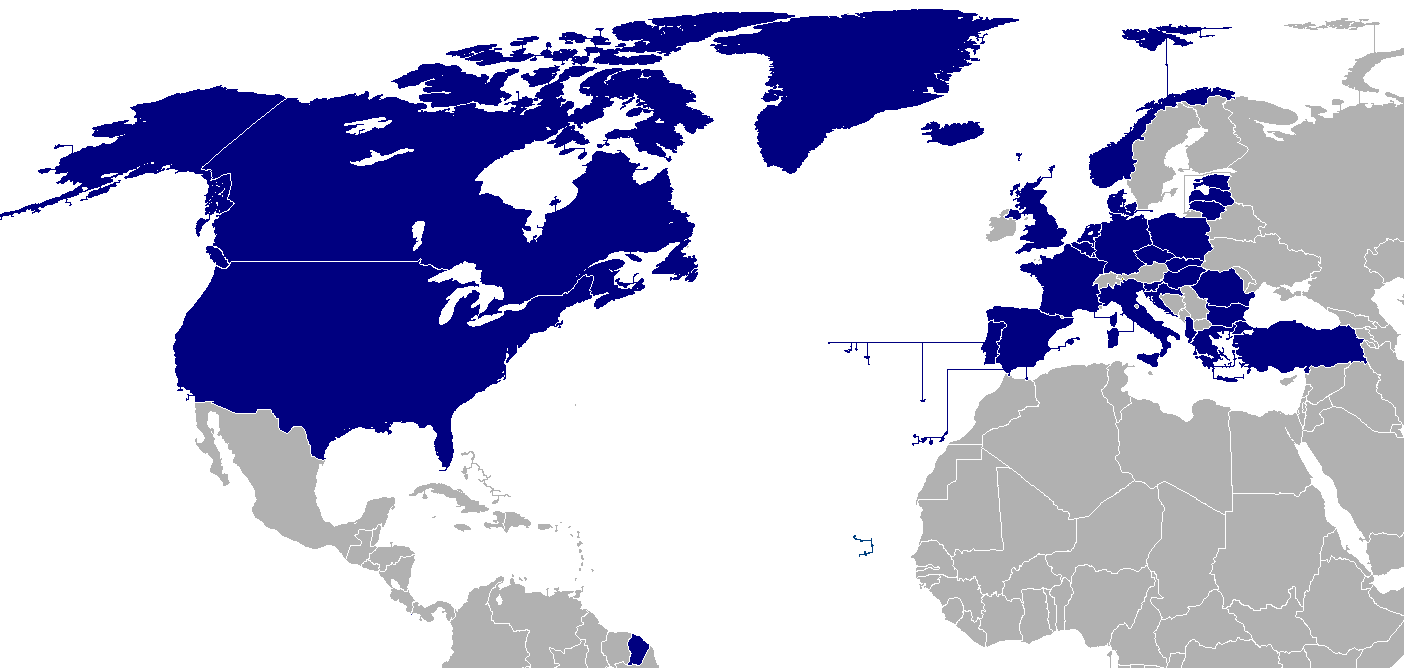 This map shows NATO's members (in blue) as of 2014. Note that the US has separate mutual defense treaties with many other nations who are not NATO members.