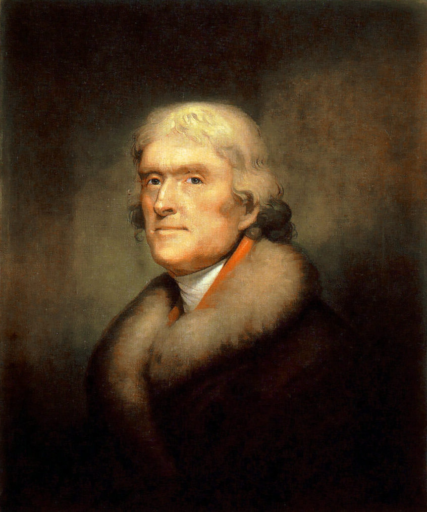 A reproduction of an 1805 Rembrant Peele portrait depicting Thomas Jefferson.