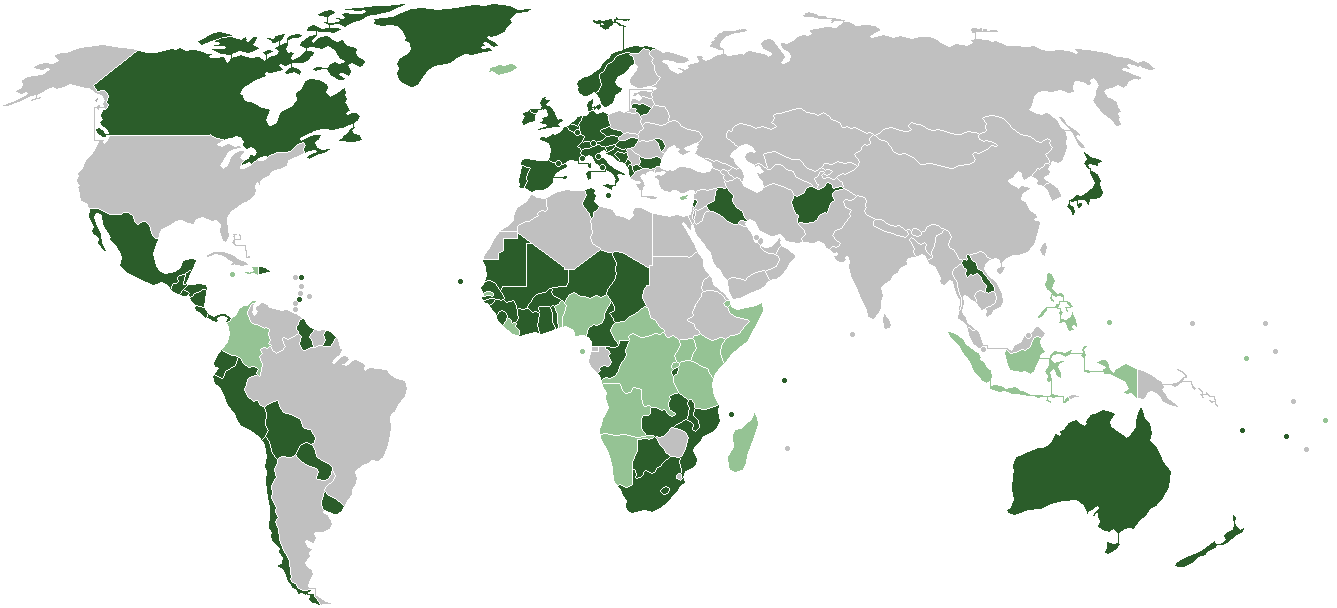 A map showing states which have agreed to the Convention on Cluster Munitions. Dark green=ratifications; light green=signatories.