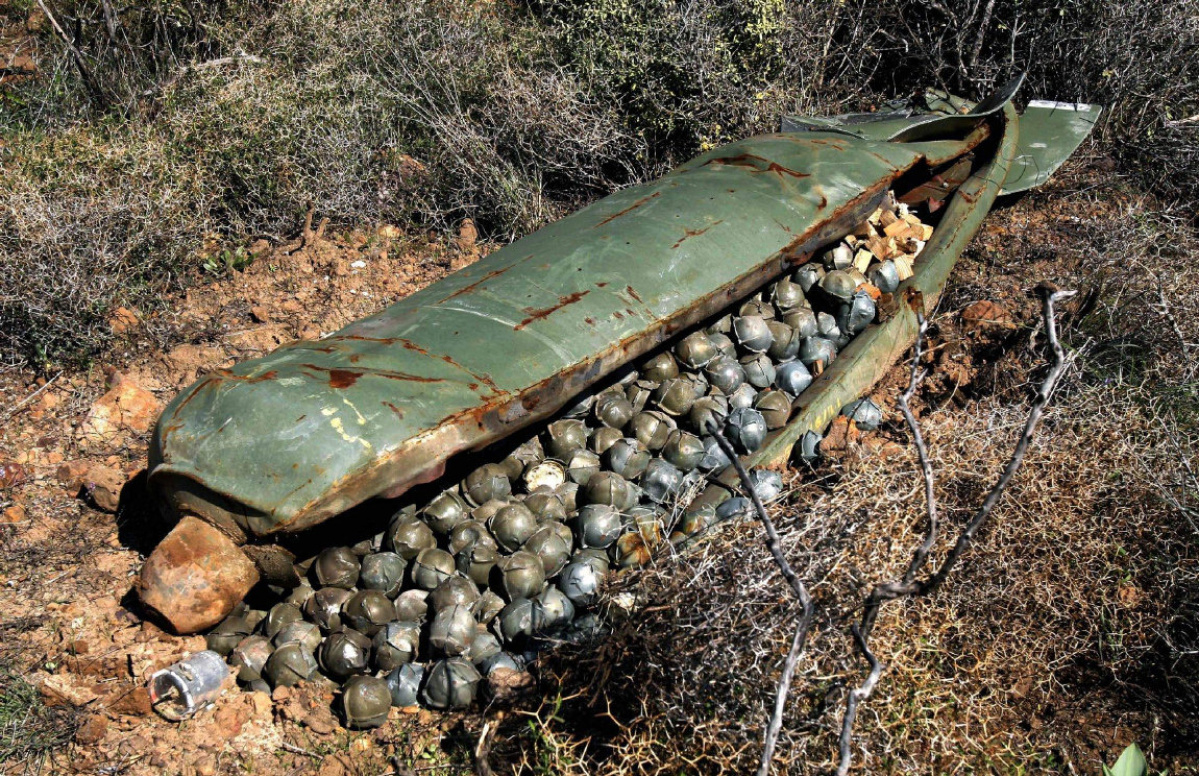 A CBU-24 cluster bomb which failed to open and dispense its submunitions (the small metal spheres). Image from thestar.com.