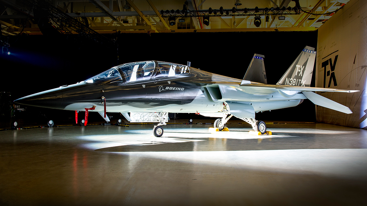 Boeing's T-X prototype during an unveiling event. Note the twin tails.