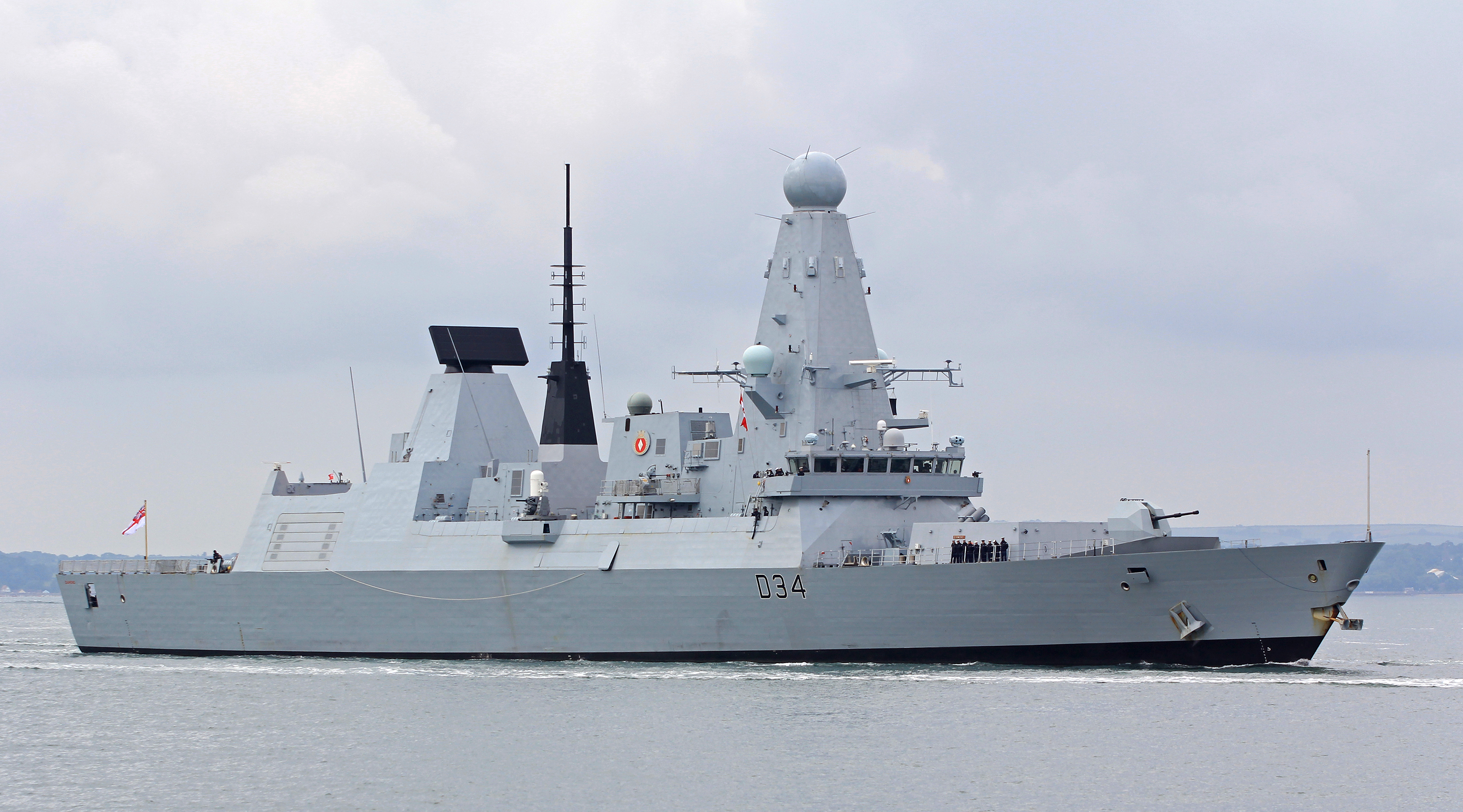 Type 45 destroyer HMS Diamond underway.