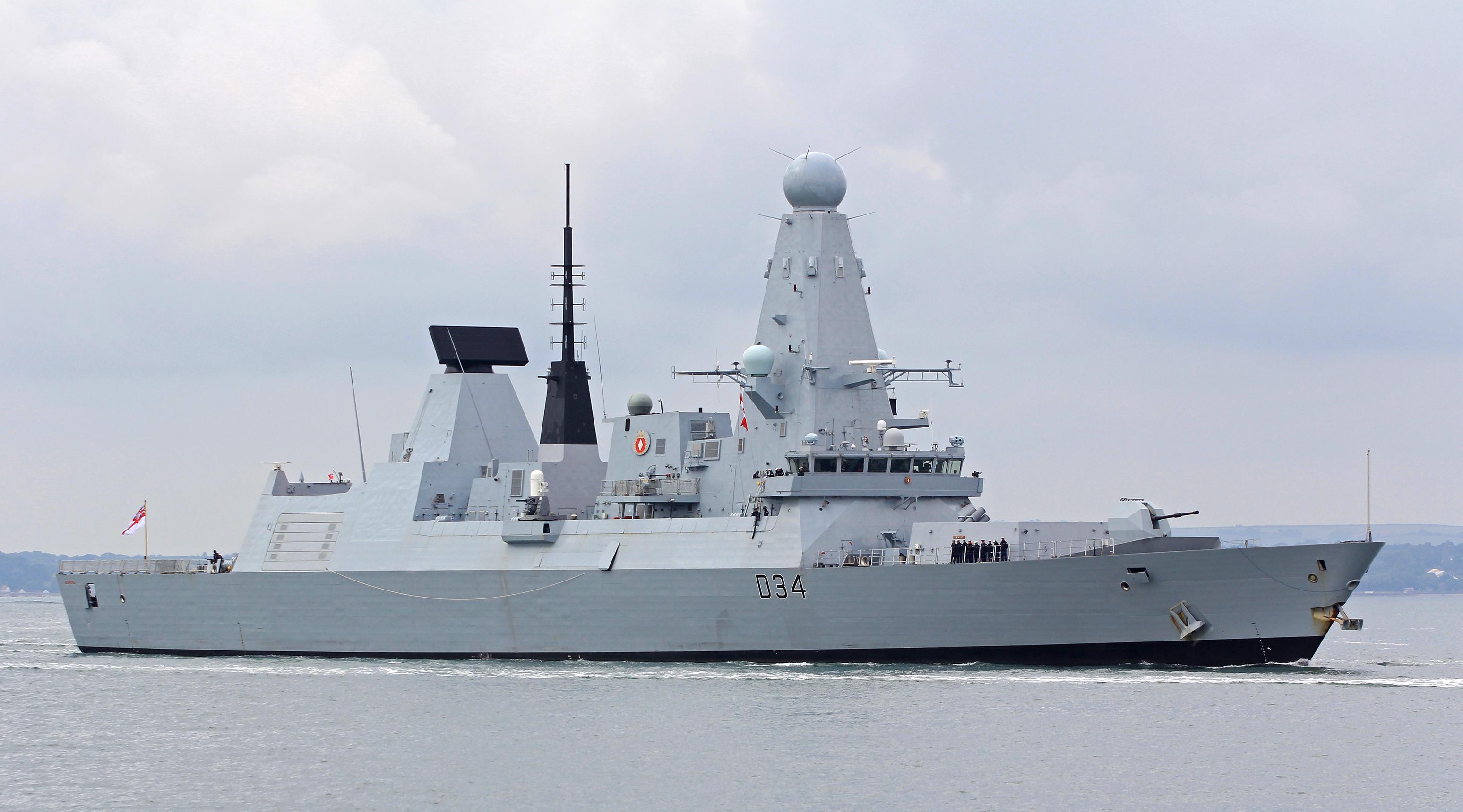 Type 45 destroyer HMS Diamond underway.