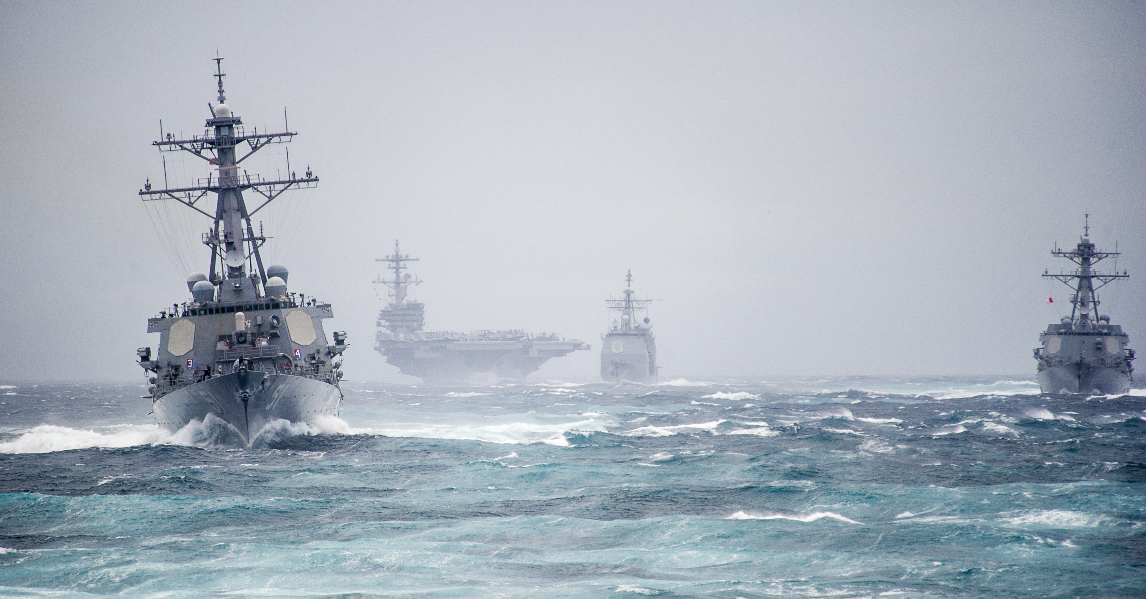 Roosevelt is conducting its final pre-deployment evaluation with the George H.W. Bush Strike Group to achieve mission readiness and the ability to work alongside international allies in the execution of the Navy's maritime strategy.