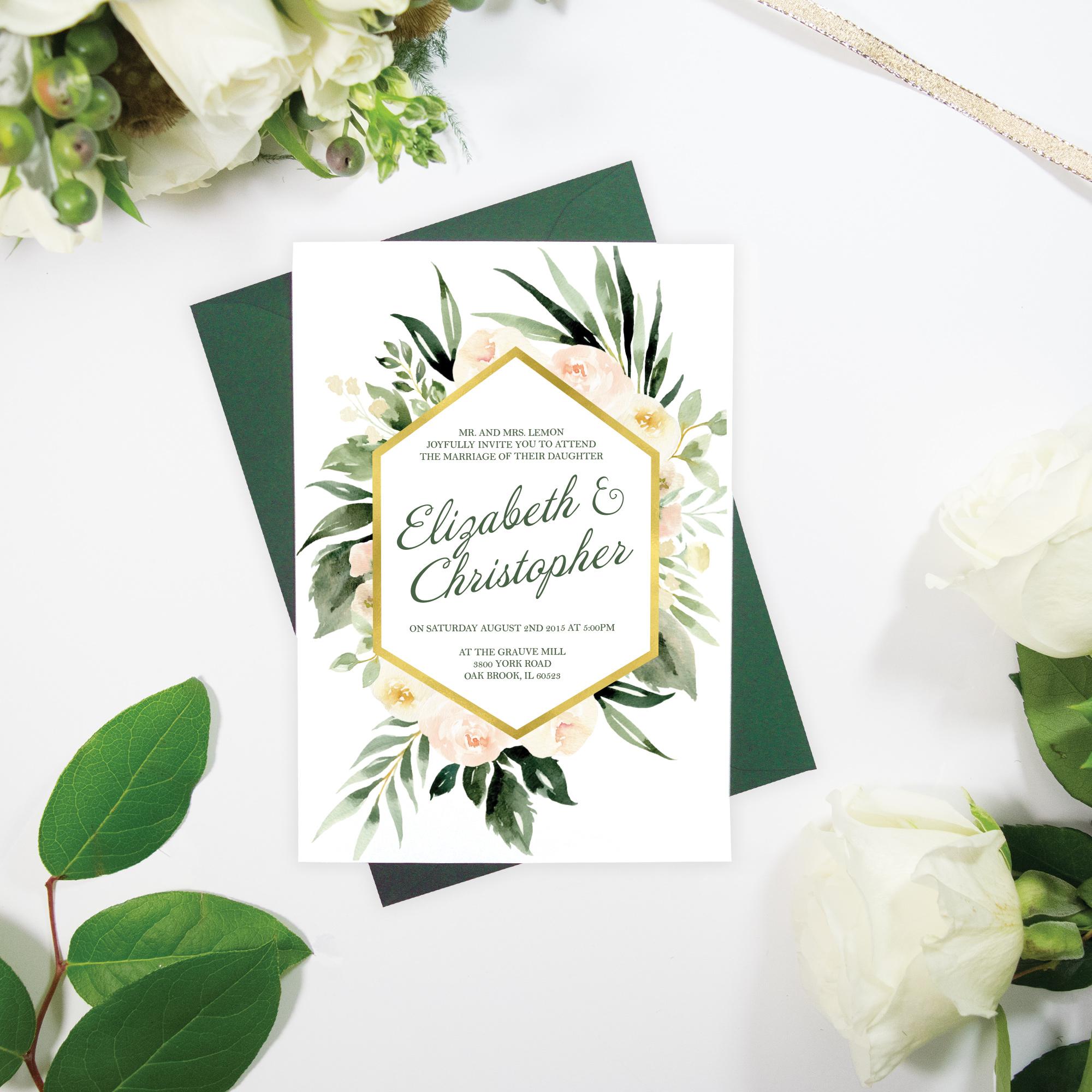 Blush Greenery and Gold Wedding Invitation – White Fox Paper Co