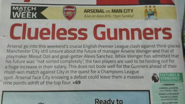 even the Malay papers have had enough of Wenger!