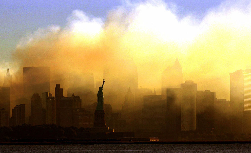 September 11 dust filled New York City & the Statue of Liberty