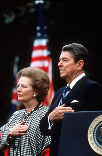{Margaret Thatcher with President Ronald Reagan, 1988}
