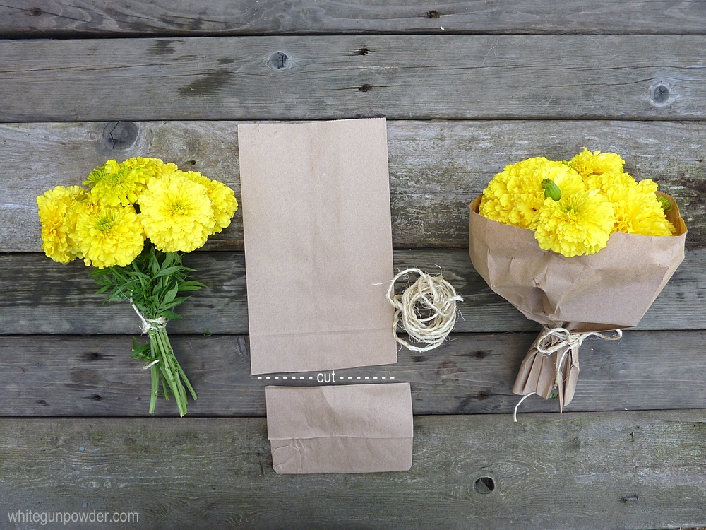 Paper bags wrapping flowers white gunpowder this is a quick and easy way to wrap flowers using basic brown paper bags cut off the bottom of the bag with scissors slip a bouquet of flowers through mightylinksfo