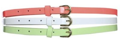 Skinny patent belts