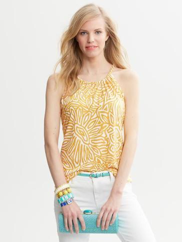 Skinny belt, white pants, Tiffany printed hater- Banana Republic 2013