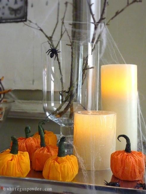 Halloween display, paper pumpkins