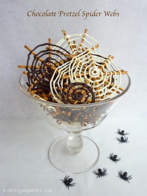 Halloween Chocolate Pretzel Spider Webs