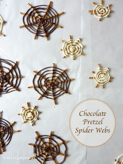 Halloween, Chocolate Pretzel Spider Webs 10