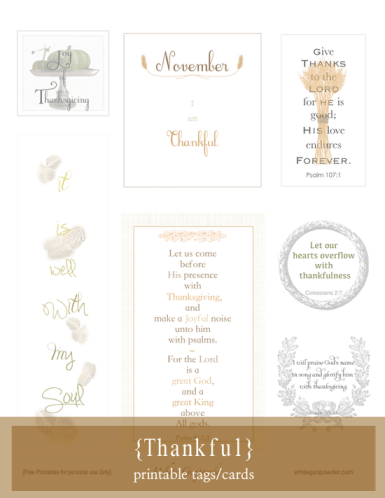 Thankful ~ printable tags/cards