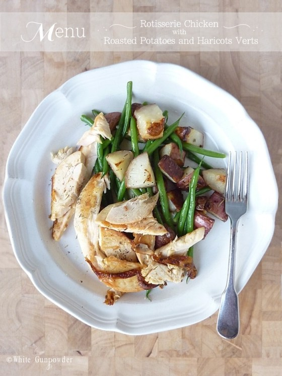 chicken with roasted potatoes and haricots verts