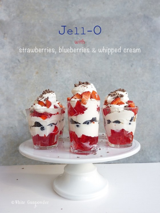 Jell-O with strawberries, blueberries and whipped cream