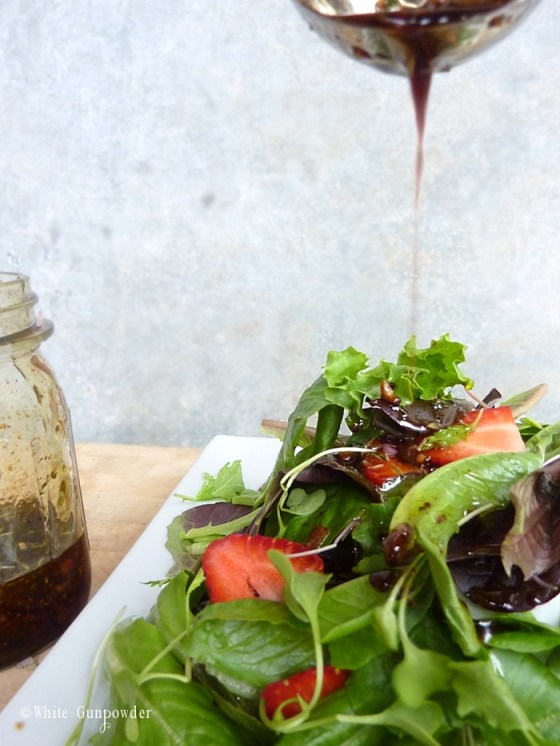 Mixed Green Salad with Strawberries and Balsamic Vinaigrette