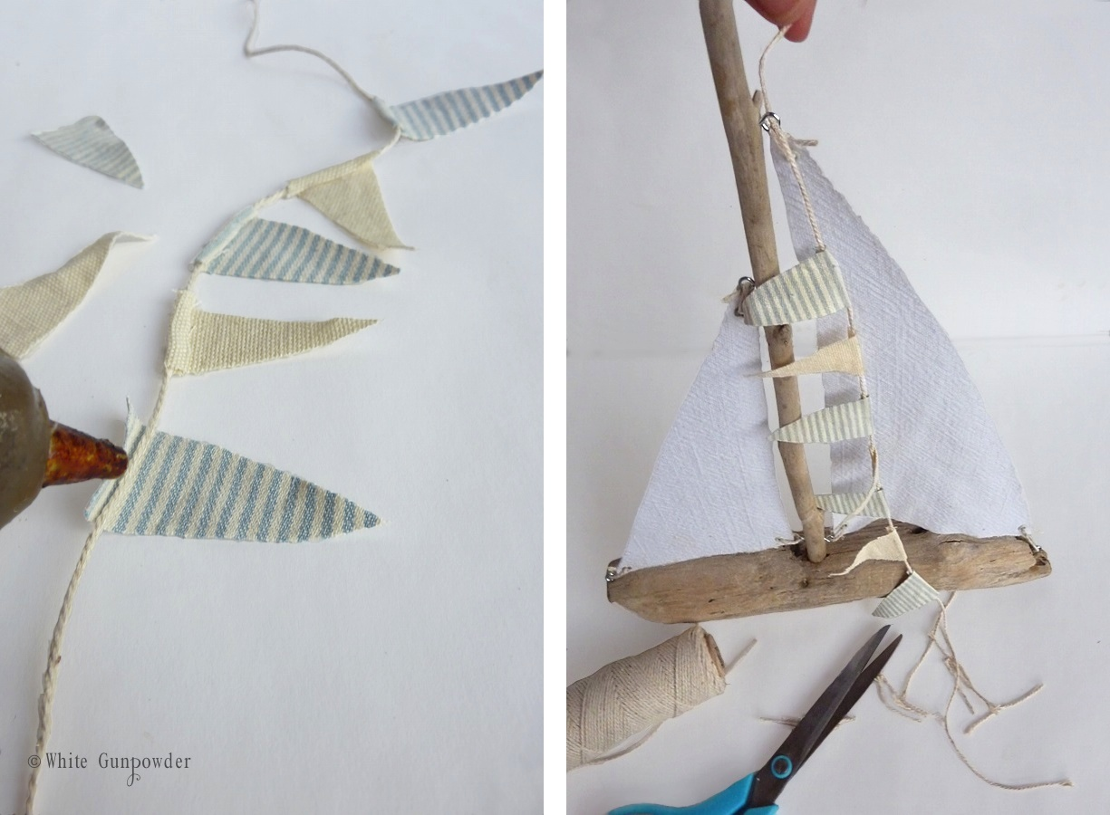 Driftwood lamp 11 diy s guide patterns - Step 5 Add Decorative Flag Banner Cut 5 7 Little Triangle Flag Pieces Cut Twine Long Enough To Go From The Top Of The Mast Down To The Eyelet Screw At