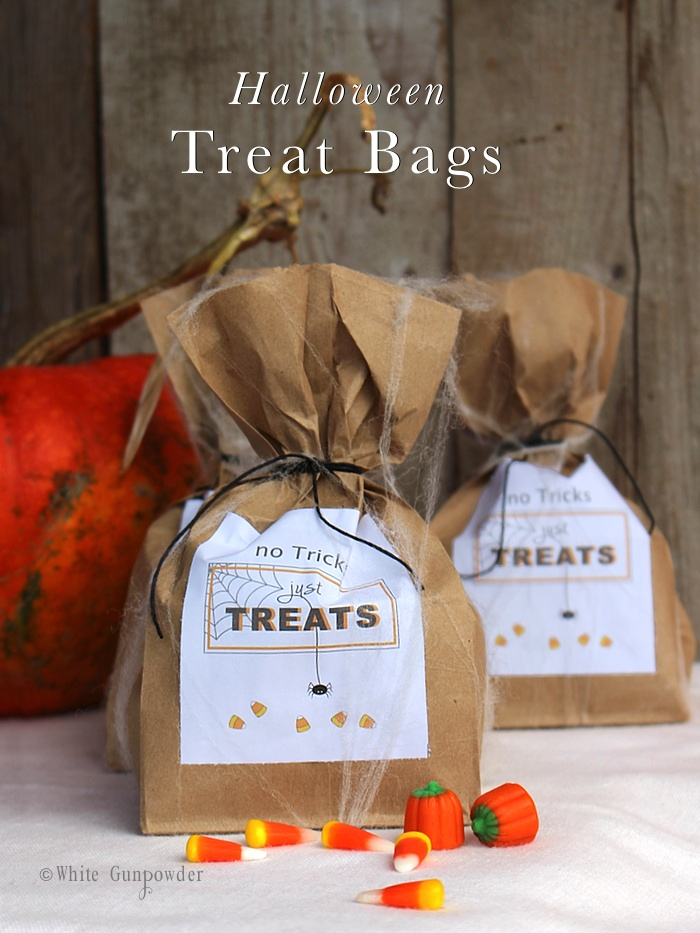 Halloween treat bags and printables white gunpowder for Quick and easy halloween treats to make