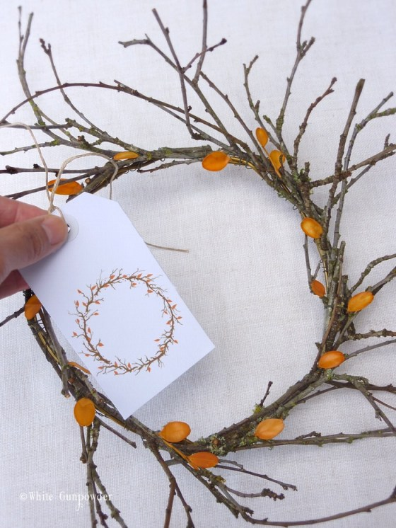 autumn 2014, wreath & gift tag