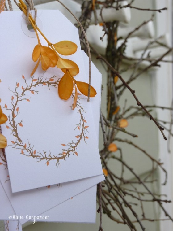 autumn 2014, wreath & tags