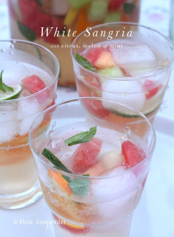 White sangria, citrus-melon-mint