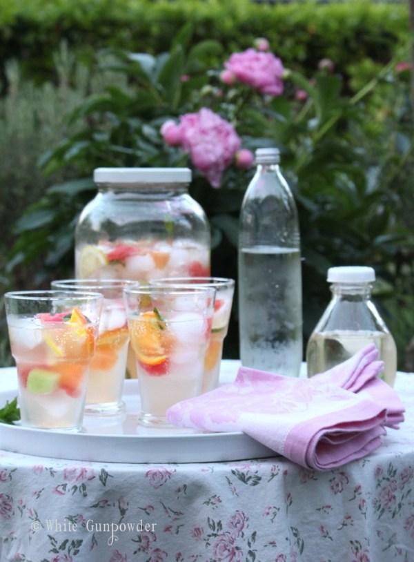 White sangria, citrus-melon-mint