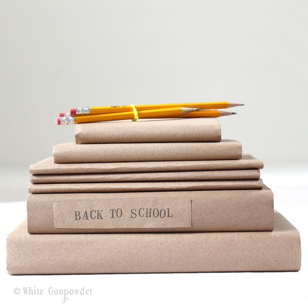 Back to school, brown paper book cover