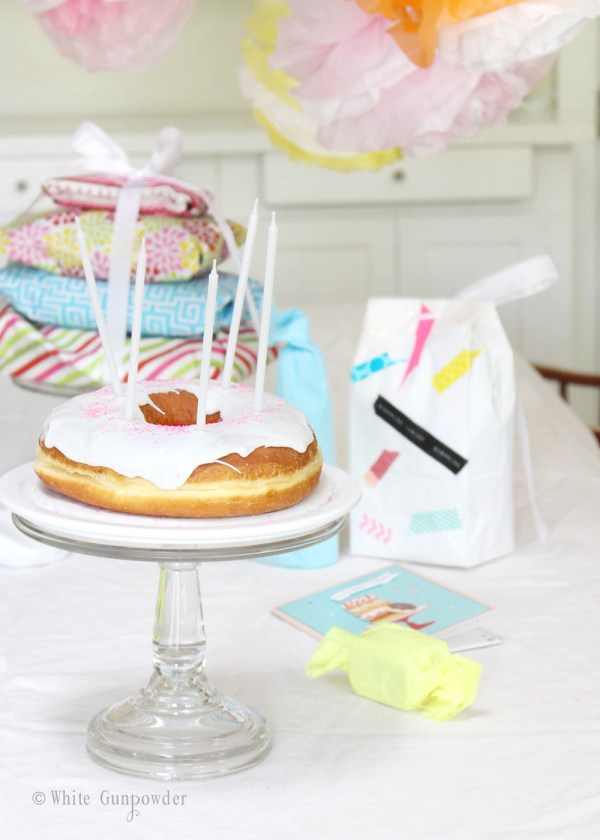 Donut Birthday Cake -1 white gunpowder