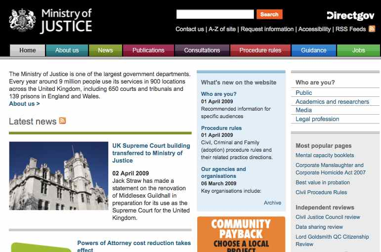 Ministry of Justice website mark 2