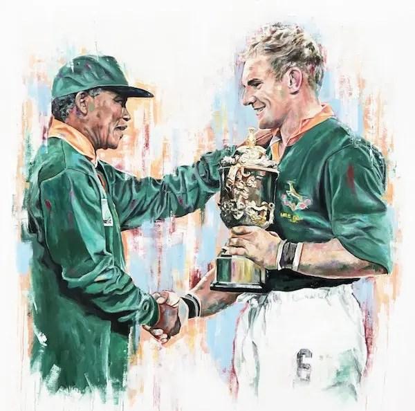 Nelson Mandela and Francois Pienaar - Leanne Gilroy - Limited Edition