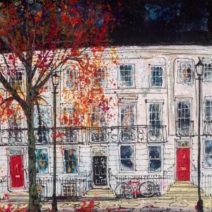 Red Bike Under Lampposts - Katharine Dove - Original Artwork