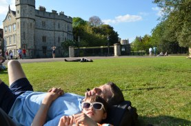 The boys sunning themselves on the grounds outside Windsor Castle