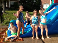Blow up water slide fun