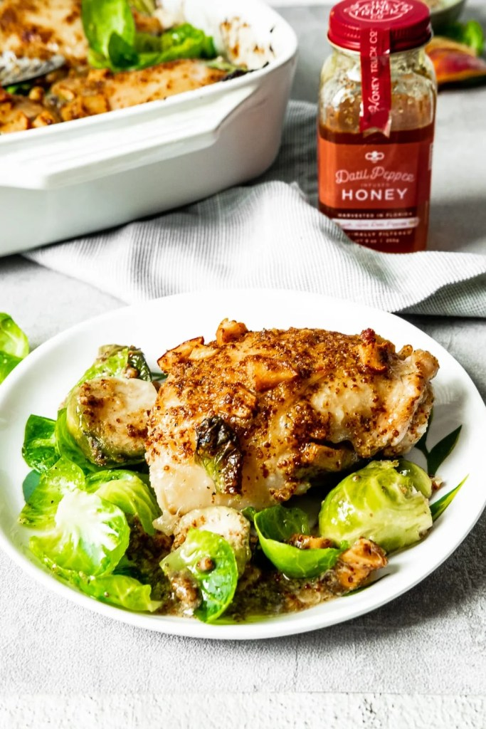Hot honey chicken on a white plate
