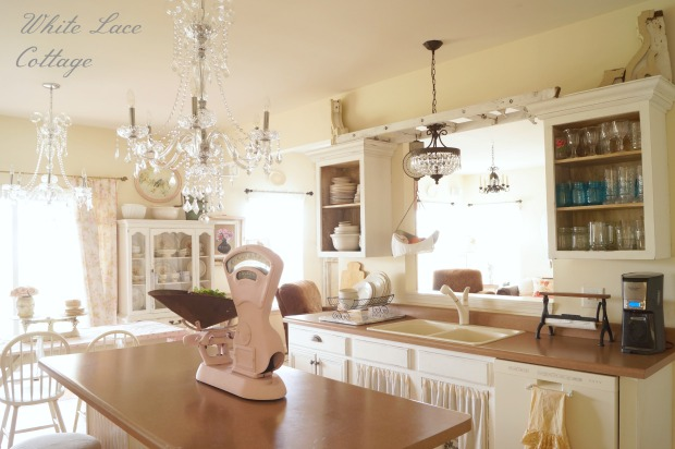 kitchen chandeliers wood island crystal shabby romantic white lace cottage chandelier