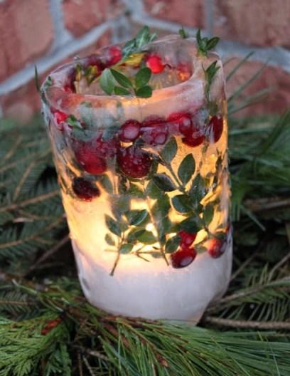 DIY Ice Lanterns with flowers