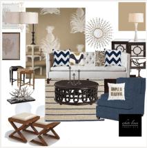 Classic Coastal Style Living Room Design Board #2