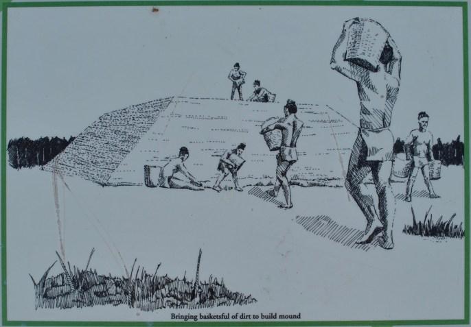 Bringing basketsful of dirt to build mound