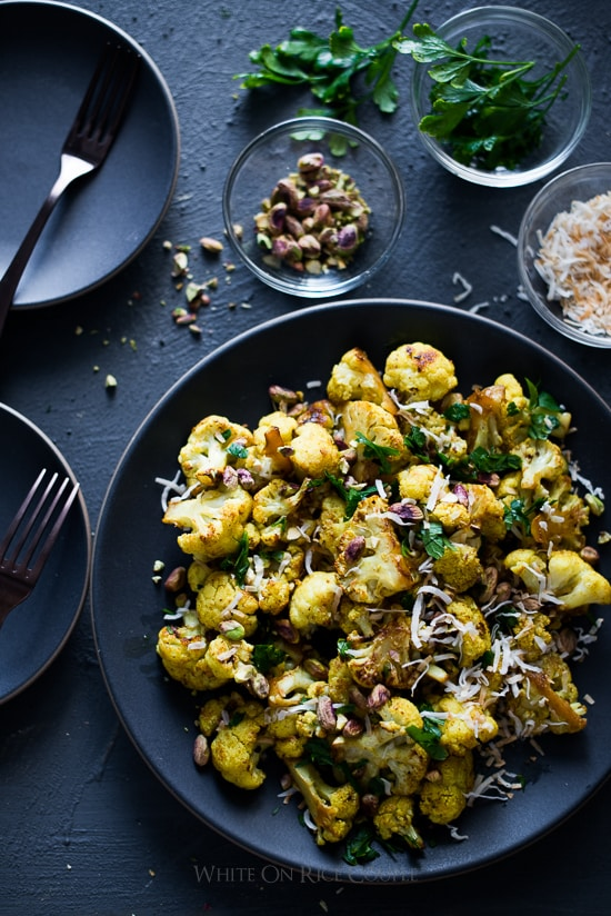 Roasted Curry Cauliflower with Turmeric, Pistachios, Coconut Flakes | @whiteonrice