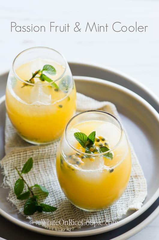 Passion Fruit And Mint Cooler Recipe   @whiteonrice