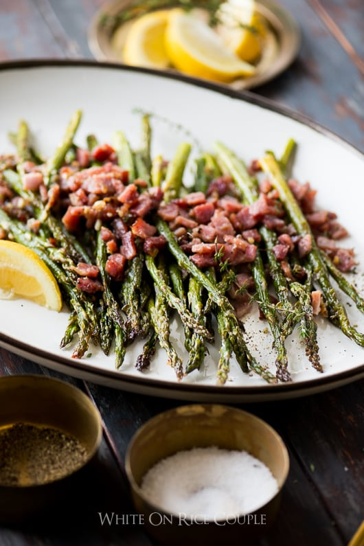 Garlic Roasted Asparagus Recipe with Ham | @whiteonrice