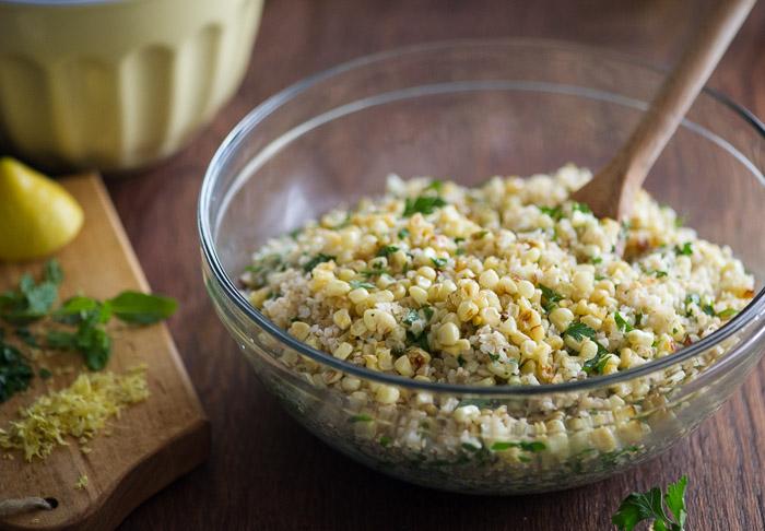 Roasted Corn Tabouli Salad on WhiteOnRiceCouple.com